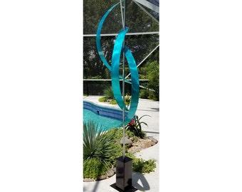 Large Aqua Metal Garden Sculpture, Indoor Outdoor Abstract Metal Art, Yard Art - Aqua Centinal by Jon Allen