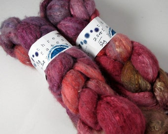clotho's hand-painted 50/50 merino silk roving (SALE)