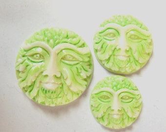 MS Greenman Green Man Cabochons Cabs Carved Bone Hand Painted Bali Fair Trade