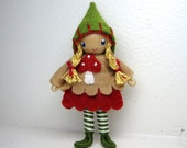 Woodland Gnome Bendy Doll by Princess Nimble-Thimble -Waldorf Nature Table- Waldorf Felt Bendable Tomte - Small Play Figure