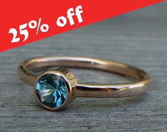 CLEARANCE - Blue/Green Tourmaline Ring with Recycled 14k Rose Gold - Fair Trade Gemstone -Engagement Ring - Eco-Friendly, size 8.25