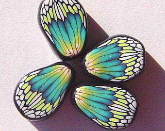 Turquoise Yellow Butterfly Wing Handmade Artisan Polymer Clay Beads