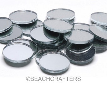 20 ct - 3/4 inch Round SILVER Mirror Glass Mosaic Tiles