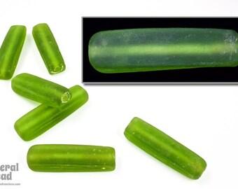 37mm Matte Transparent Olivine Rectangular Tube (6 Pcs) #5248