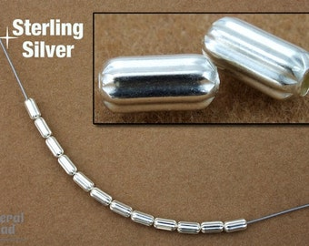 Sterling Silver 3mm x 6mm Corrugated Tube Bead #BSG005