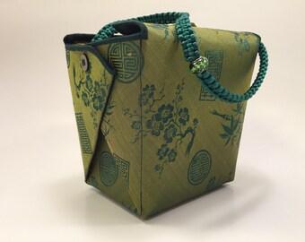 Evening bag, Formal evening bag, Party purse, OOAK purse, Take out box purse, Brocade wristlet, green purse, UNIQUE PURSE, Designer Handbag