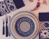 blue batik napkins