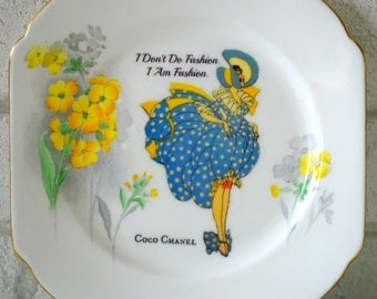 1920's Tally Card Lady Coco Chanel Fashion Vintage Ornamental Wall or Table Display Heirloom Plate (20)