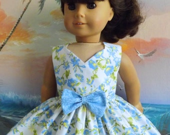 18 Inch Doll Dress Handmade Blue and White Florals Sewgrandmacathy