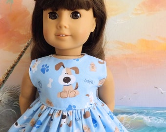 18 Inch Doll Clothing Dress Puppy Medley on a Light Blue Background Fits Dolls like AG