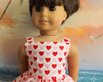 American Girl Doll Clothes Long Dress Pink and Red Hearts Valentine Medley