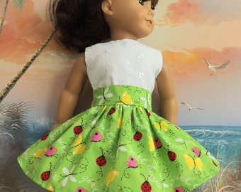 American Girl Doll Clothes Girl Bugs on a Bright Lime Green Background Very Fully Gathered 50s Style Skirt with Waistband Medley NEW Style