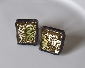Broken China Cuff Links - Green Leaf