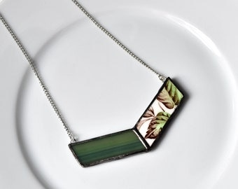 Broken China and Stained Glass Chevron Necklace - Green Leaf