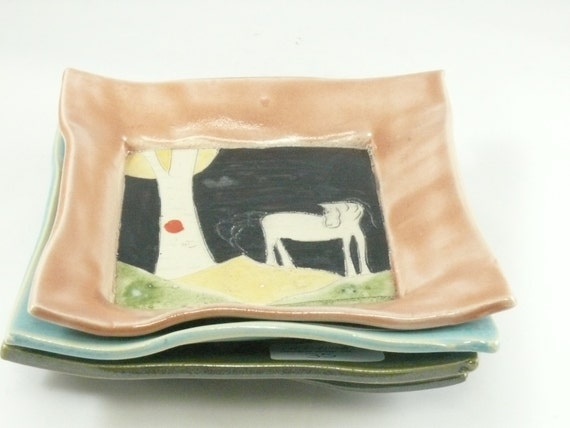 Ceramic side plate with white horse, appetizer plate - side dish - tapas serving tray - candleholder - soap dish - key bowl 104