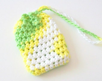 Cotton Crochet Soap Saver, Lemon Lime Soap Saver, Crochet Soap Sack, Crochet Soap Bag, Reusable, Ecofriendly