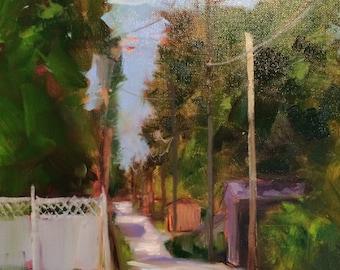 Behind Main Street-original oil painting Plein air