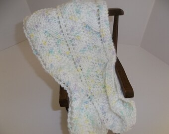 Doll Blanket - Afghan - Chiffon Print With Blue,Yellow, Lavender and White - Gift Idea - Crocheted Doll Blanket