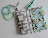 Modern Zipper Pouch - Gray Aqua Make up Bag - Modern Gray Cosmetic Pouch - Aqua Floral Zipper Pouch