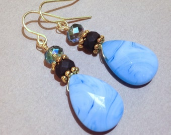 Blue Quartz Dangle Earrings - AB Czech Crystals - Gold Earrings - Gemstone Jewelry - Stone Earrings - Statement Earrings - Pierced Earrings