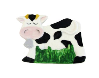 Cow Spoon Rest or Tea Bag Holder Holstein Black and White Country Farm Kitchen Decor Ceramic Earthenware