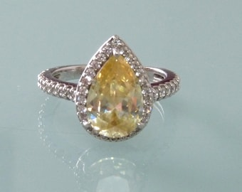 Canary Yellow Halo Ring Engagement Pear Cut Kiera Sterling Silver Diamond Hybrid Wedding Ring Fleur de lis Size 7