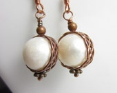 Creamy Orb Earrings - Freshwater Pearls with Antiqued Copper Frames