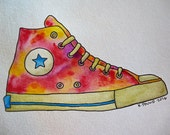 Converse Shoe Original Watercolor Painting 5x7