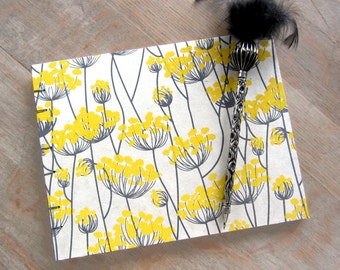 Guest Book, Yellow Grey Floral 7x9 inches, unlined torn pages, Ready to Ship