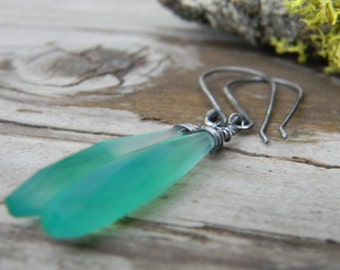 long faceted green chalcedony drops - earrings with rustic oxidized silver