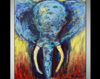 Abstract Elephant Painting ORIGINAL Modern Art - Painting - Animal Art  30x24 Advant Garde Art by BenWill