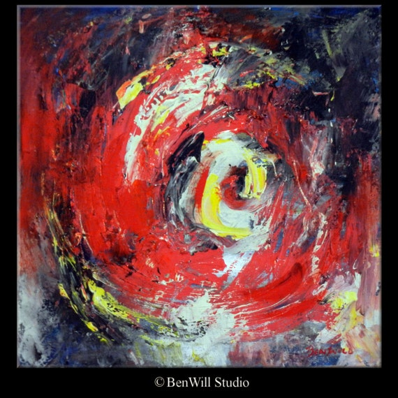 Abstract Red Painting Vortex Art  on Canvas - 20x20 - Modern Wall Art by BenWill