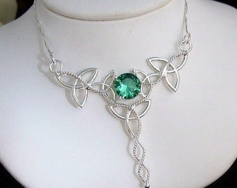 Irish Celtic Necklace, Trinity Knot Necklaces, Irish Wedding Jewelry, Handmade Celtic Necklace, Sterling Silver Gemstone Wirework, Box Chain