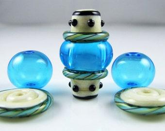 Aqua Focal Hollow Set of Lampwork Glass Beads