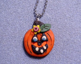 Halloween Pumpkin Polymer Clay Charm Prim Pendant Necklace Handmade