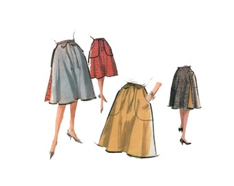 60s uncut Wrap Skirt Pattern vintage Waist 24 - 28 inches easy Reversible A-line Flared