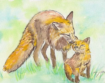 Fox and Kit Watercolor