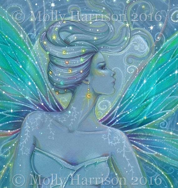 Starry Night - Original Drawing - Fairy, Fantasy, Moon, Celestial Artwork by Molly Harrison 9 x 12