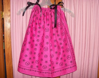 Hot Pink Peace Sign Print Toddler Dress or Girl's Tunic Top ONE SIZE Fits All from 18 months to girl's 10
