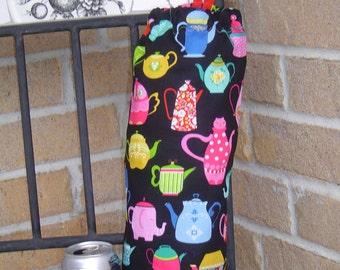 Colorful TeaPots Kitchen Decor Grocery Bags Holder Dispenser Organizer