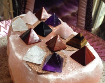 Gemstone Crystal Pyramid small choose from available gemstones crystal grid healing