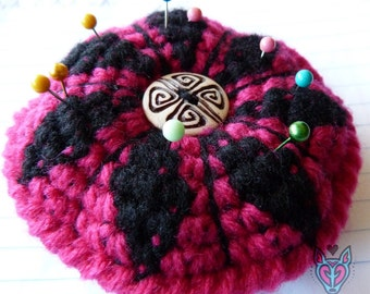 Crochet Pin Cushion pink and black