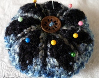 Crochet Pin Cushion - blue green and black, fuzzy wool and acrylic