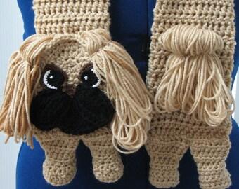 Crochet Pattern - Pekingese Scarf Pattern - Pekingese Pattern - Men's Scarf - Women's Scarves - Dog Lover Gift - Animal Pattern - Dog Scarf