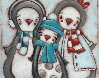 Original Folk Art Mixed Media Penguin Family Painting - Until You're Ready - Free U. S. shipping