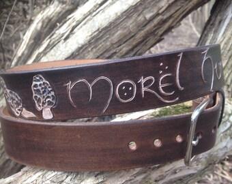 Morel Belt - Mushroom - Leather belt - Morel Hunter