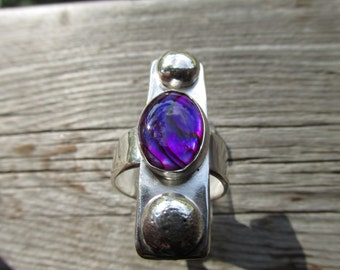 Purple Abalone Sterling silver ring size 8  1/2