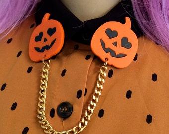 Acrylic Laser Cut Jack-o-lantern Pumpkin Collar Clip