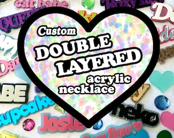2 lined Double Layer Custom Laser Cut Acrylic Necklace MADE TO ORDER