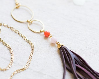 Leather Tassel and Gemstone Necklaces, Leather Tassel Necklace